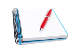 Blank notebook sheet with pen Stock Images