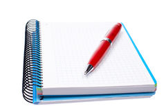 Blank notebook sheet with pen Stock Photos