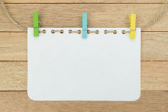 Blank notebook sheet with rope on wood background Royalty Free Stock Image