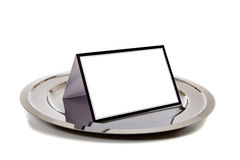 Blank notebook on  a silver tray Royalty Free Stock Image