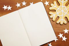 Blank Notebook With Snowflake Royalty Free Stock Photography