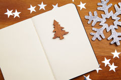 Blank Notebook With Snowflake Royalty Free Stock Photos