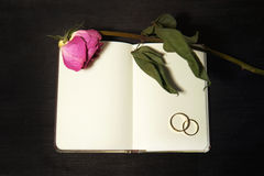 Blank notebook with wedding rings and purple rose on black backg Stock Photo
