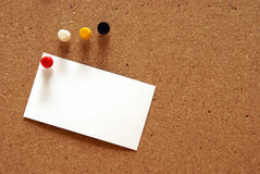 Blank Notecard on a Cork Board. A pushpin is holding a blank notecard on a cork board Royalty Free Stock Images