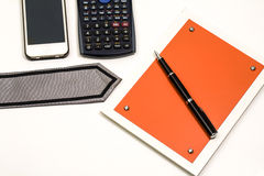 Blank notepad and accessories for business people Stock Image