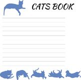 Blank Notepad with cats. Sheet notebook, notebook with a silhouette of blue cats, blank for notebook Royalty Free Stock Images