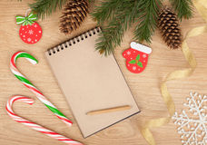Blank notepad and christmas decor Royalty Free Stock Image