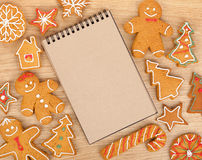 Blank notepad with christmas gingerbread cookies Stock Photo