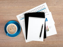 Blank notepad and coffee cup Stock Photos