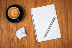 Blank notepad and coffee cup Royalty Free Stock Photo