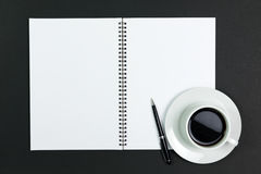 Blank notepad with coffee Royalty Free Stock Photography