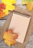 Blank notepad and colorful autumn maple leaves Stock Image