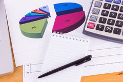 Blank notepad, documents and calculator Stock Photography