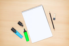 Blank notepad, highlighters, pencil and eraser Stock Photography
