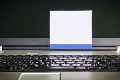 Blank notepad on latop screen Royalty Free Stock Image