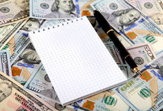 Blank Notepad on the Money Royalty Free Stock Photography
