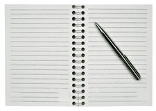 Blank notepad and one pen Stock Photography
