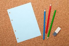 Blank notepad page on cork notice board Royalty Free Stock Image