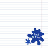 Blank notepad page with ink blots. School squared paper with ink drops. Stock Photography