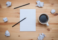 Blank notepad with pencil and coffee Stock Images