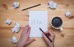 Blank notepad with pencil and coffee Royalty Free Stock Photos