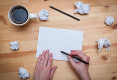 Blank notepad with pencil and coffee Stock Image