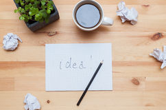 Blank notepad with pencil and coffee Stock Photos