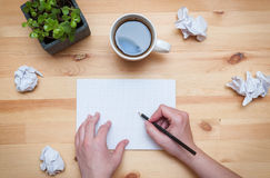 Blank notepad with pencil and coffee Royalty Free Stock Photo