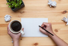 Blank notepad with pencil and coffee Stock Photography