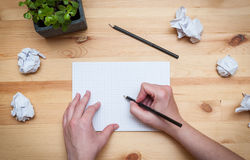 Blank notepad with pencil and flower Royalty Free Stock Photo