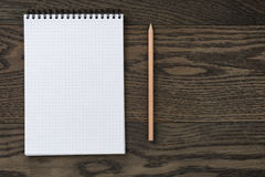 Blank notepad with pencil office wooden table Royalty Free Stock Photography