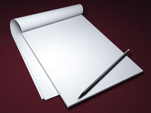 Blank notepad with pencil Royalty Free Stock Image