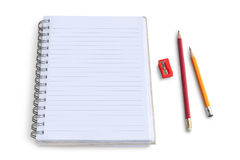 Blank notepad with pencil and  sharpener Stock Photo