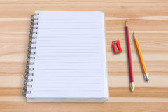 Blank notepad with pencil and  sharpener Royalty Free Stock Photography