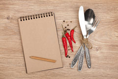 Blank notepad with pencil and silverware set Stock Photography