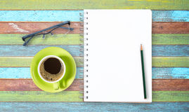 Blank notepad and pencil with on wooden Royalty Free Stock Image