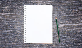 Blank notepad and pencil with on wooden Stock Image