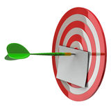 Blank notepaper at dart aim 3d. Darts target aim and arrow at the center with blank notepaper 3d Stock Photos