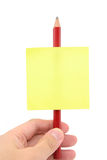 Blank notepaper stick on a pencil Stock Photos