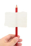 Blank notepaper stick on a pencil Stock Photography