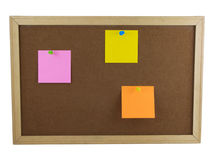 Blank Notes. Photo of a board with three blank notes pinned to it, isolated on white Royalty Free Stock Photos