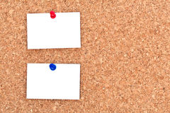 Blank notes on bulletin board Royalty Free Stock Photo