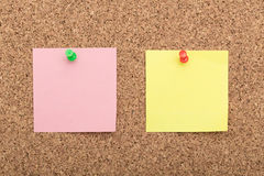 Blank notes on cork board Royalty Free Stock Image