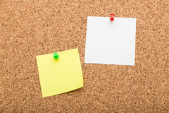Blank notes on cork board Stock Images