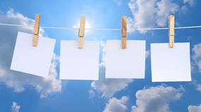 Blank notes hanging on a rope Royalty Free Stock Photography