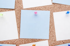 Blank notes and multicolored thumbtacks Royalty Free Stock Photography