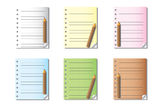Blank Notes and Paper. Set of Blank Notes and Papers on white background Royalty Free Stock Images