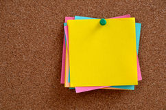 Blank notes pinned into brown corkboard Royalty Free Stock Images