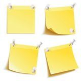 Blank notes pinned on corkboard ready for your text. Yellow stick note. Blank notes pinned on corkboard ready for your text. Front view. Vector illustration. Set Stock Photo
