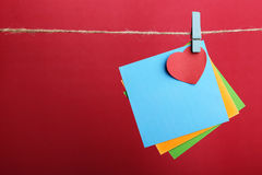 Blank Notes With Red Heart Against Red Background Royalty Free Stock Photo